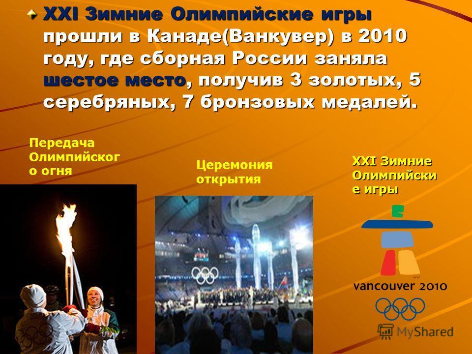 XXI Зимние Олимпийские игры прошли в Канаде(Ванкувер) в 2010 году, где сборная России заняла шестое место, получив 3 золотых, 5 серебряных, 7 бронзовых медалей. XXI Зимние Олимпийски е игры Церемония открытия Передача Олимпийског о огня