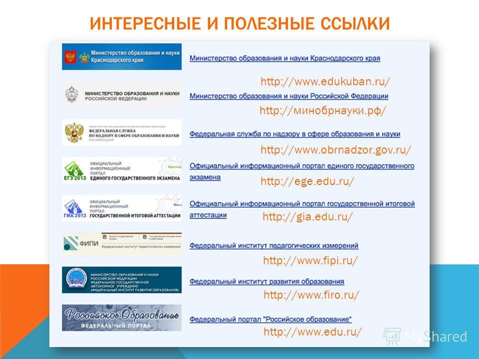 ИНТЕРЕСНЫЕ И ПОЛЕЗНЫЕ ССЫЛКИ http://www.edukuban.ru/ http://минобрнауки.рф/ http://www.obrnadzor.gov.ru/ http://ege.edu.ru/ http://gia.edu.ru/ http://www.fipi.ru/ http://www.firo.ru/ http://www.edu.ru/