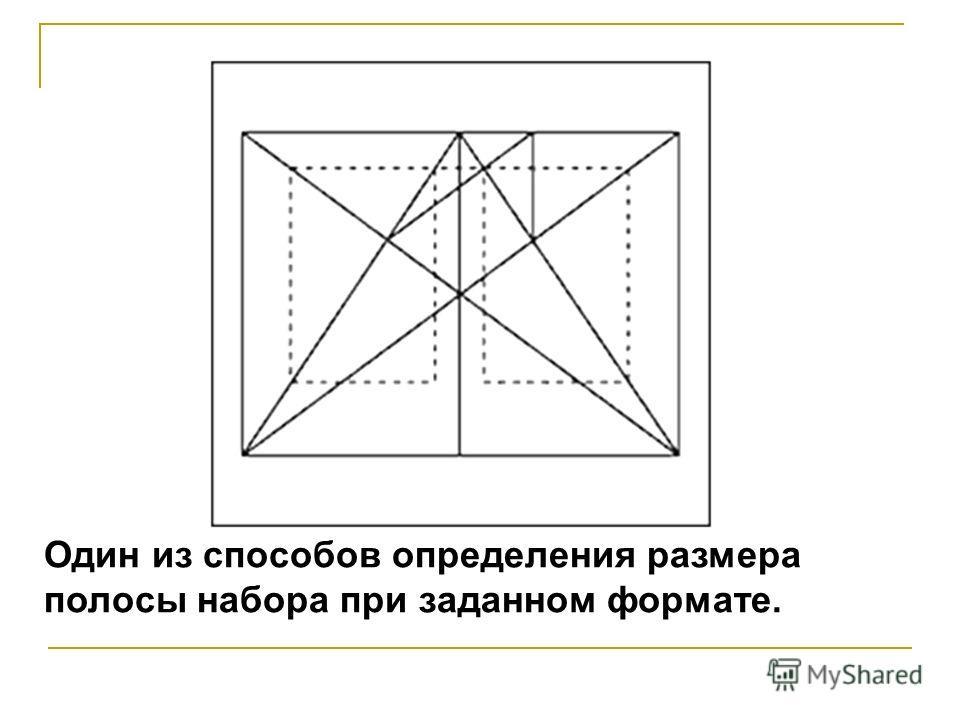 Один из способов определения размера полосы набора при заданном формате.