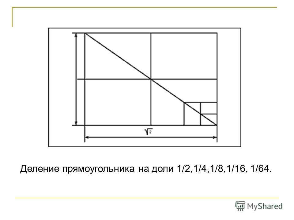 Деление прямоугольника на доли 1/2,1/4,1/8,1/16, 1/64.