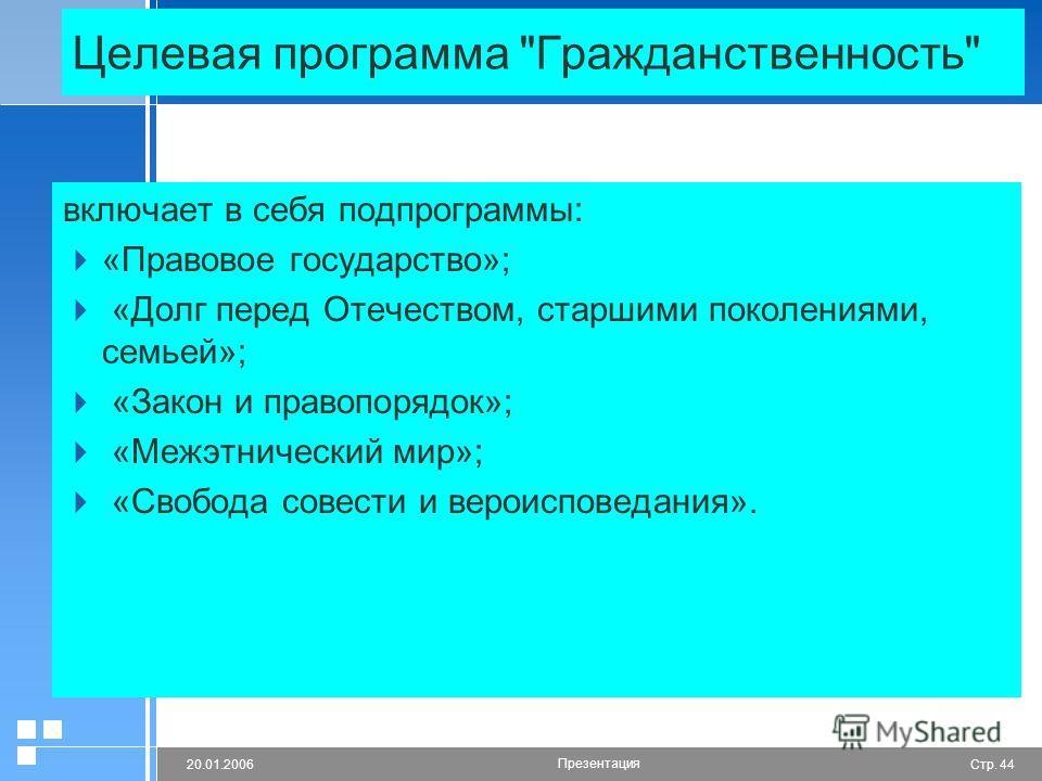 Стр. 4420.01.2006 Презентация Целевая программа