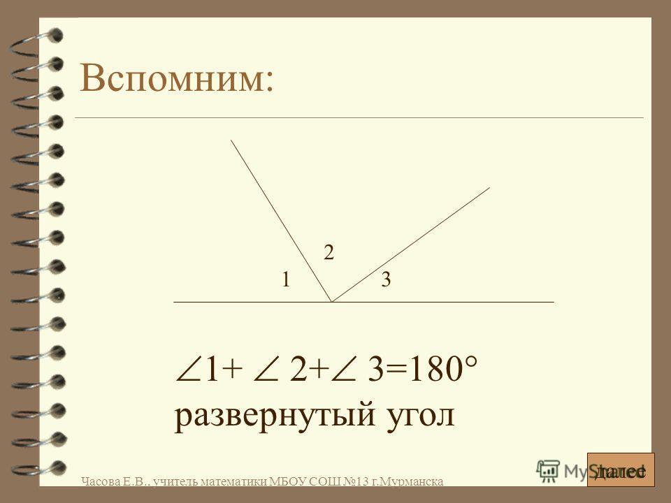 Вспомним: 1+ 2+ 3=180° развернутый угол 1 2 3 далее Часова Е.В., учитель математики МБОУ СОШ 13 г.Мурманска