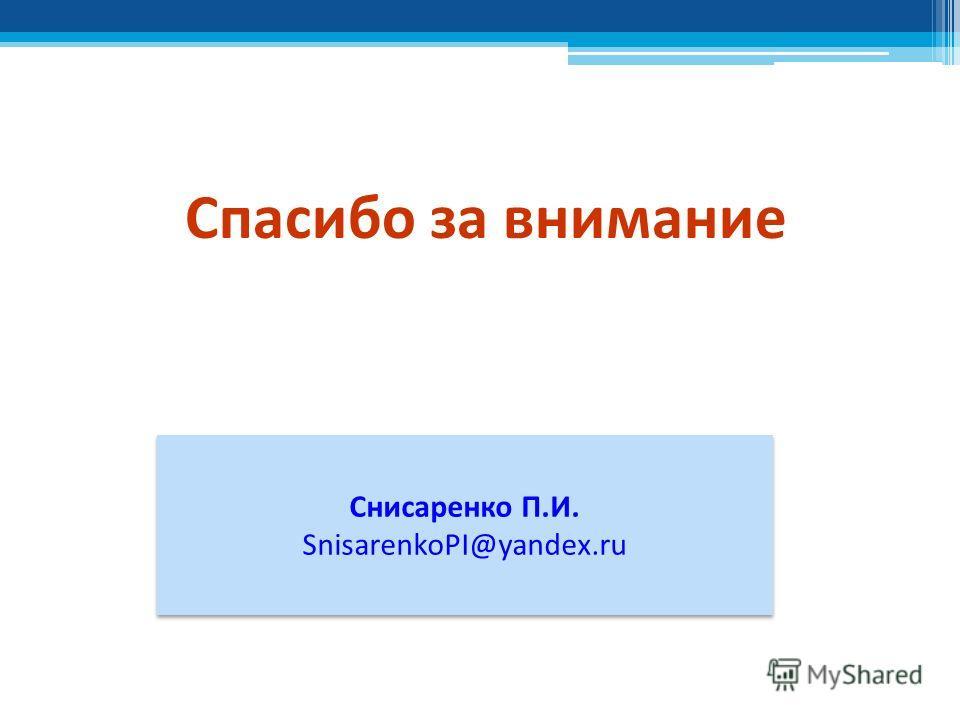 Спасибо за внимание Снисаренко П.И. SnisarenkoPI@yandex.ru Снисаренко П.И. SnisarenkoPI@yandex.ru