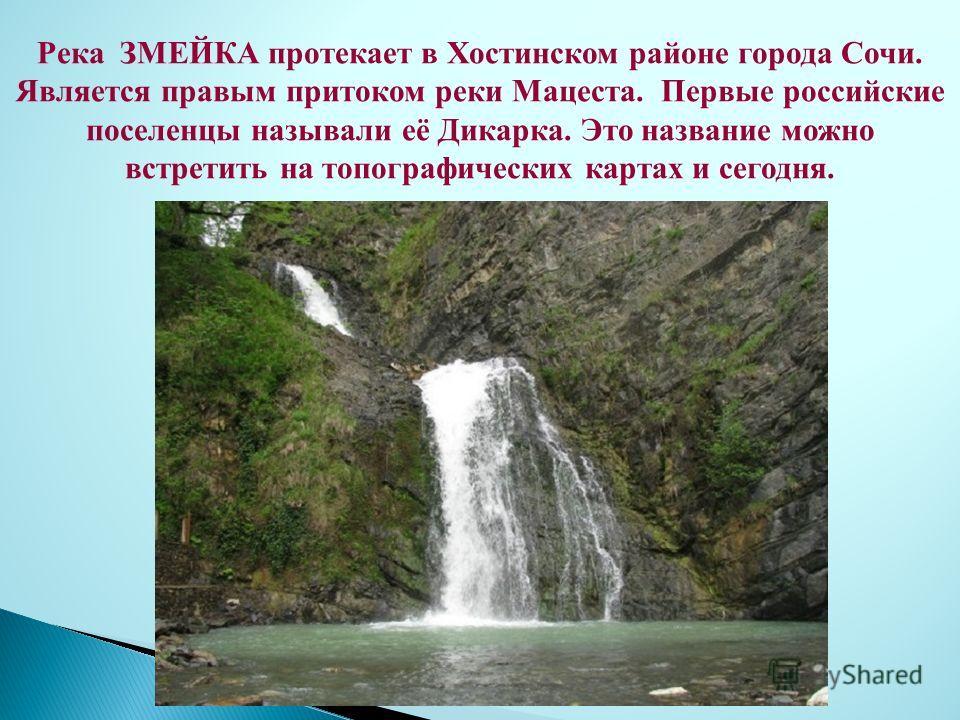 Река ЗМЕЙКА протекает в Хостинском районе города Сочи. Является правым притоком реки Мацеста. Первые российские поселенцы называли её Дикарка. Это название можно встретить на топографических картах и сегодня.