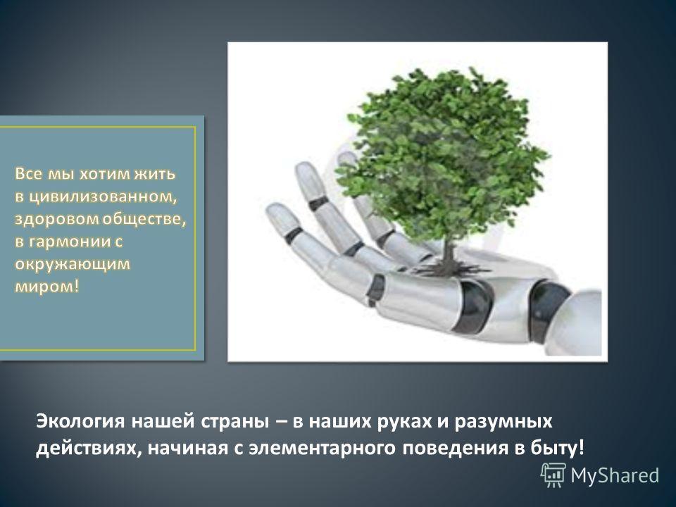 Экология нашей страны – в наших руках и разумных действиях, начиная с элементарного поведения в быту!