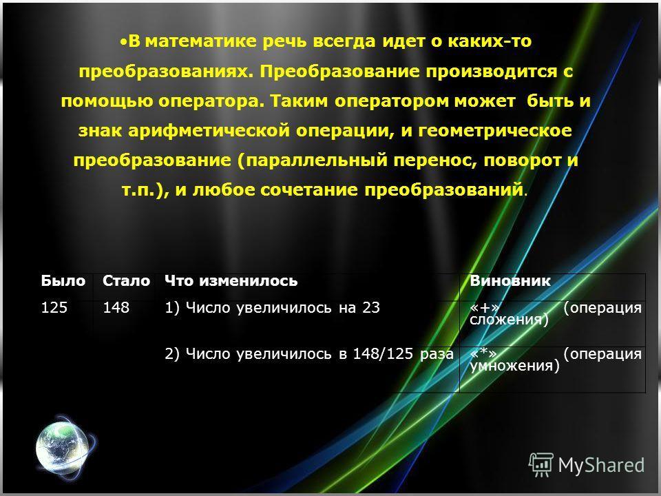 БылоСталоЧто изменилосьВиновник 1251481) Число увеличилось на 23 «+» (операция сложения) 2) Число увеличилось в 148/125 раза«*» (операция умножения) В математике речь всегда идет о каких-то преобразованиях. Преобразование производится с помощью опера