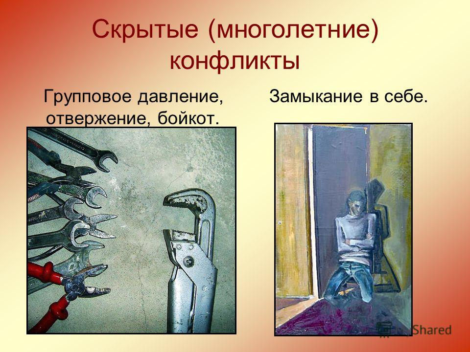 Скрытые (многолетние) конфликты Групповое давление, отвержение, бойкот. Замыкание в себе.