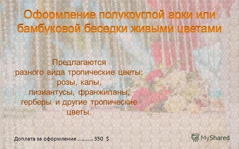 Предлагаются разного вида тропические цветы: розы, калы, лизиантусы, франжипаны, герберы и другие тропические цветы. Доплата за оформление ……….. 350 $