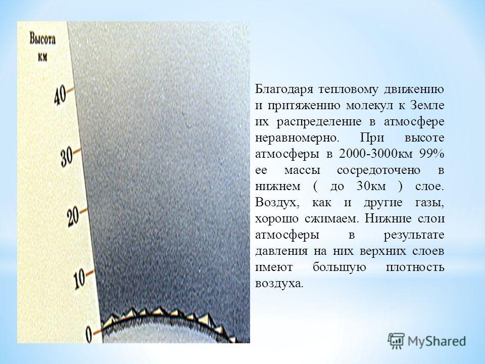 Благодаря тепловому движению и притяжению молекул к Земле их распределение в атмосфере неравномерно. При высоте атмосферы в 2000-3000км 99% ее массы сосредоточено в нижнем ( до 30км ) слое. Воздух, как и другие газы, хорошо сжимаем. Нижние слои атмос