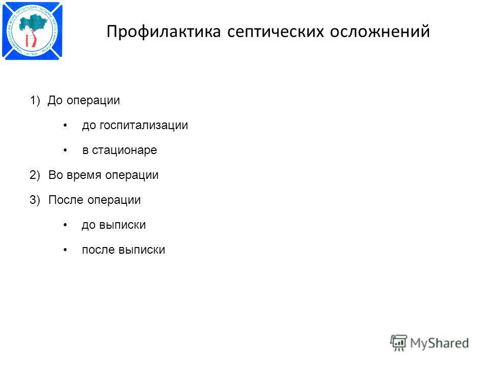 Профилактика септических осложнений 1)До операции до госпитализации в стационаре 2)Во время операции 3)После операции до выписки после выписки