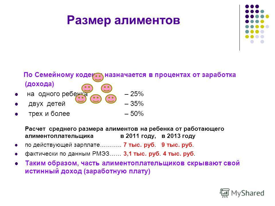 Размер алиментов По Семейному кодексу назначается в процентах от заработка (дохода) на одного ребенка – 25% двух детей– 35% трех и более – 50% Расчет среднего размера алиментов на ребенка от работающего алиментоплательщика в 2011 году, в 2013 году по