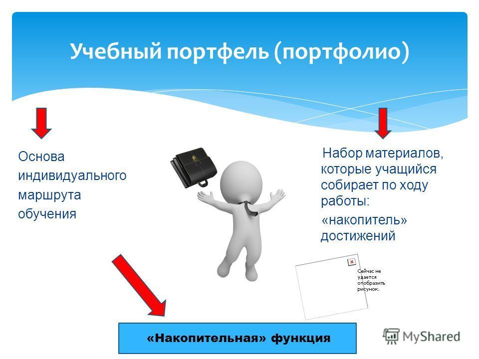 Учебный портфель (портфолио) Основа индивидуального маршрута обучения Набор материалов, которые учащийся собирает по ходу работы: «накопитель» достижений «Накопительная» функция