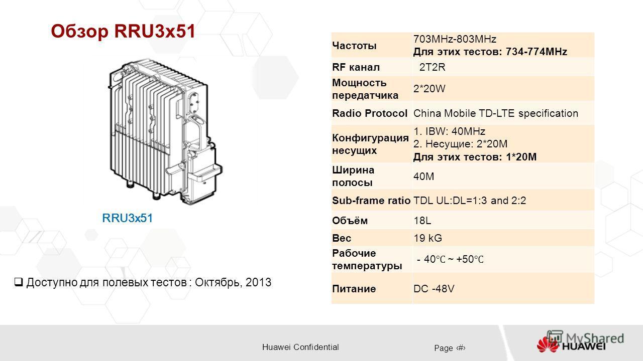 Huawei Confidential Page 24 Обзор RRU3x51 RRU3x51 Доступно для полевых тестов : Октябрь, 2013 Частоты 703MHz-803MHz Для этих тестов: 734-774MHz RF канал 2T2R Мощность передатчика 2*20W Radio ProtocolChina Mobile TD-LTE specification Конфигурация несу
