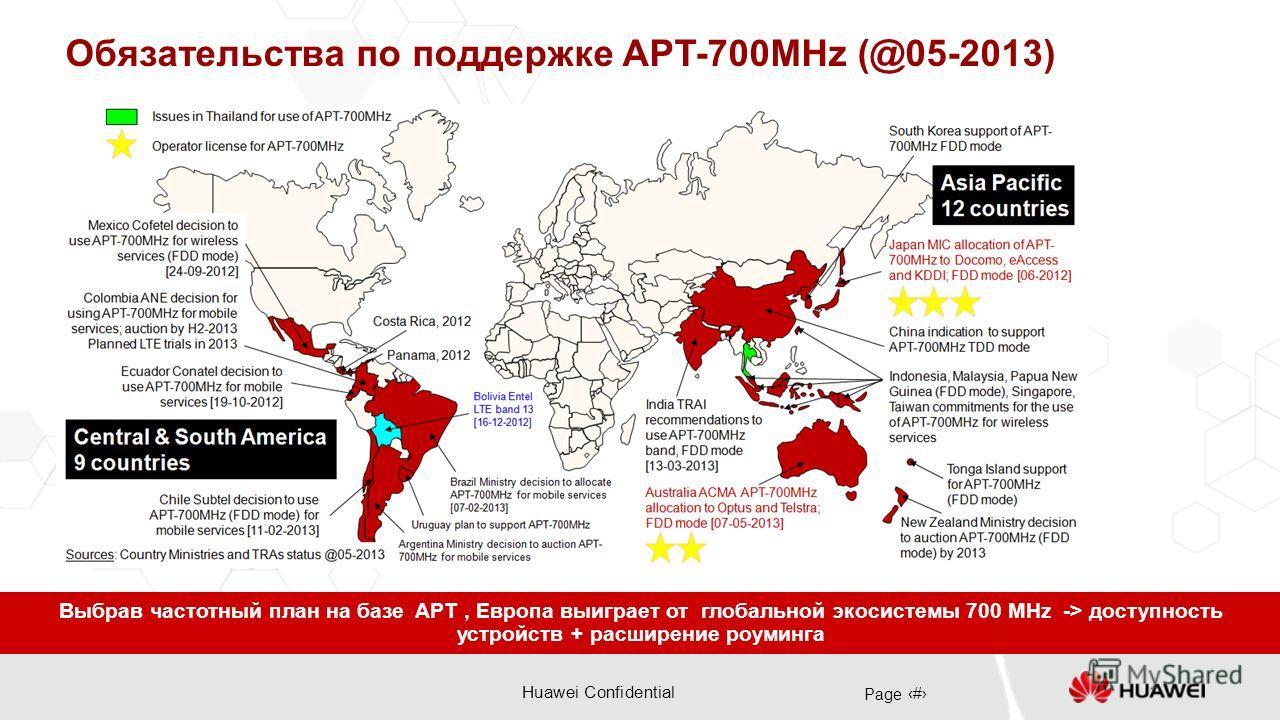 Huawei Confidential Page 7 Обязательства по поддержке APT-700MHz (@05-2013) Выбрав частотный план на базе APT, Европа выиграет от глобальной экосистемы 700 MHz -> доступность устройств + расширение роуминга