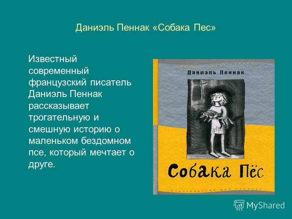 Даниэль Пеннак «Собака Пес» Известный современный французский писатель Даниэль Пеннак рассказывает трогательную и смешную историю о маленьком бездомном псе, который мечтает о друге.