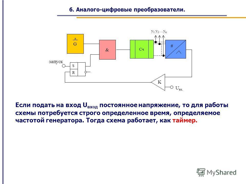 запуск U вх. y 1 y 2 …y n R S & G K # Cч Если подать на вход U вход постоянное напряжение, то для работы схемы потребуется строго определенное время, определяемое частотой генератора. Тогда схема работает, как таймер. 6. Аналого-цифровые преобразоват