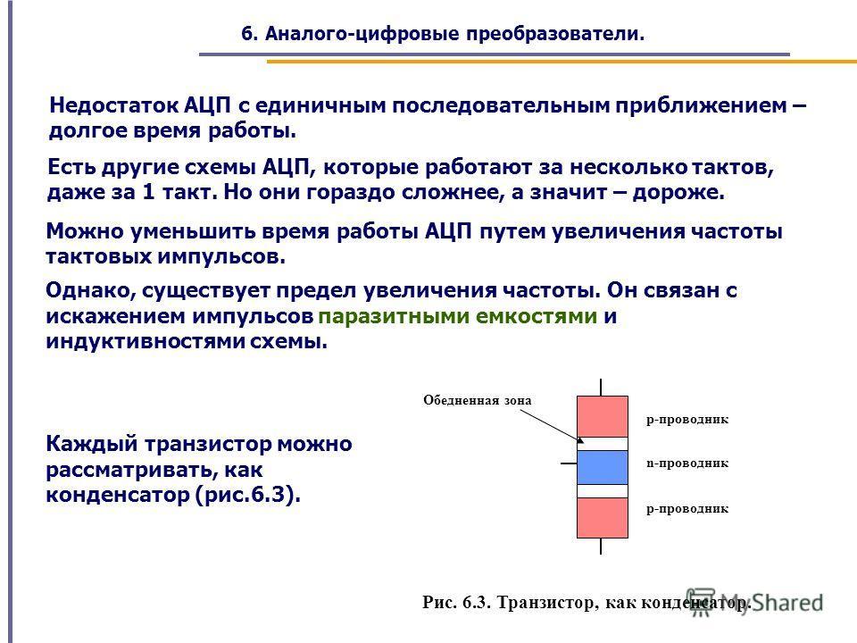Недостаток АЦП с единичным последовательным приближением – долгое время работы. Есть другие схемы АЦП, которые работают за несколько тактов, даже за 1 такт. Но они гораздо сложнее, а значит – дороже. Можно уменьшить время работы АЦП путем увеличения