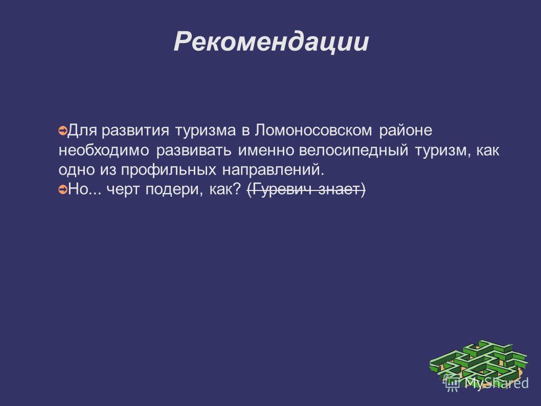 Рекомендации Для развития туризма в Ломоносовском районе необходимо развивать именно велосипедный туризм, как одно из профильных направлений. Но... черт подери, как? (Гуревич знает)