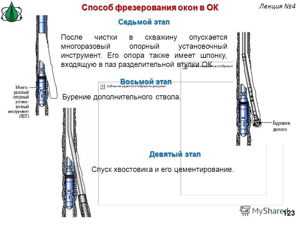 Способ фрезерования окон в ОК Седьмой этап После чистки в скважину опускается многоразовый опорный установочный инструмент. Его опора также имеет шпонку, входящую в паз разделительной втулки ОК. Восьмой этап Бурение дополнительного ствола. Девятый эт