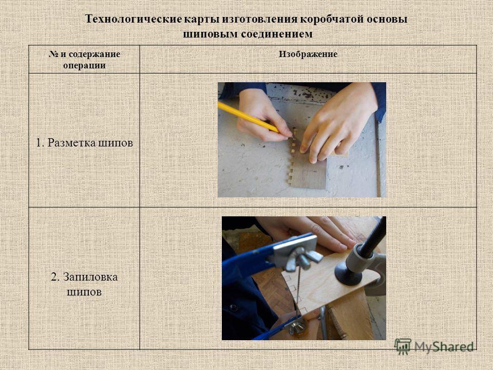 и содержание операции Изображение 1. Разметка шипов 2. Запиловка шипов Технологические карты изготовления коробчатой основы шиповым соединением