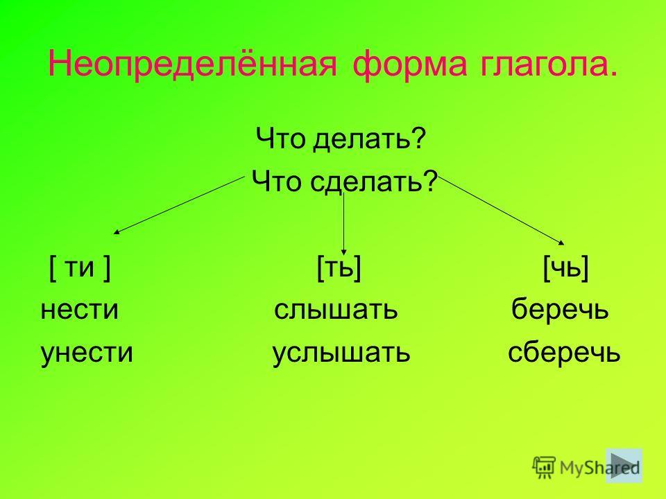 Неопределённая форма глагола. Что делать? Что сделать? [ ти ] [ть] [чь] нести слышать беречь унести услышать сберечь