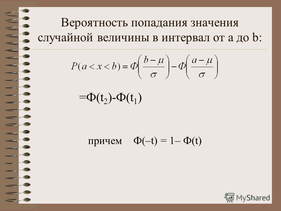 Вероятность попадания значения случайной величины в интервал от а до b: причем Ф(–t) = 1– Ф(t) =Ф(t 2 )-Ф(t 1 )