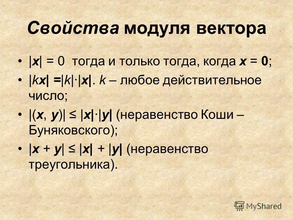 Свойства модуля вектора |x| = 0 тогда и только тогда, когда x = 0; |kх| =|k|·|х|. k – любое действительное число; |(x, у)| |х|·|у| (неравенство Коши – Буняковского); |x + у| |х| + |у| (неравенство треугольника).