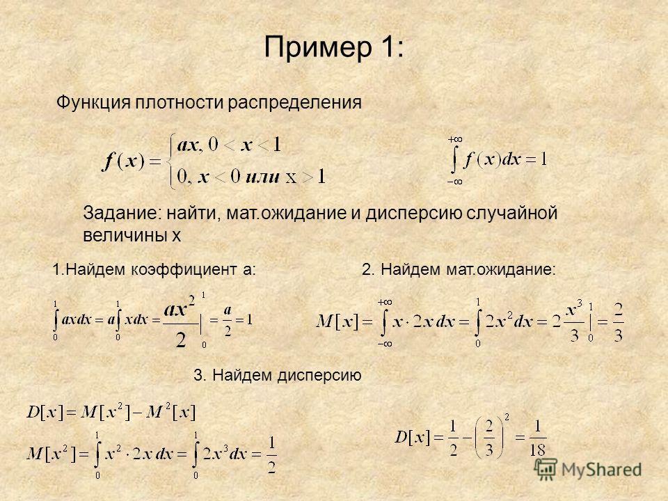 Пример 1: Функция плотности распределения Задание: найти, мат.ожидание и дисперсию случайной величины х 1.Найдем коэффициент а:2. Найдем мат.ожидание: 3. Найдем дисперсию