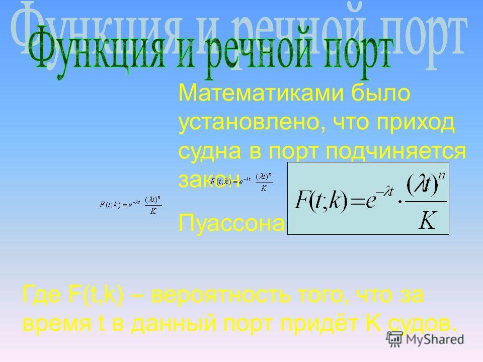 Математиками было установлено, что приход судна в порт подчиняется закон Пуассона: Где F(t,k) – вероятность того, что за время t в данный порт придёт K судов.