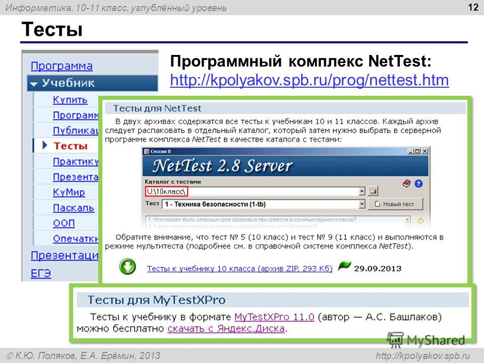 Информатика, 10-11 класс, углублённый уровень К.Ю. Поляков, Е.А. Ерёмин, 2013 http://kpolyakov.spb.ru Тесты 12 http://kpolyakov.spb.ru/prog/nettest.htm Программный комплекс NetTest: