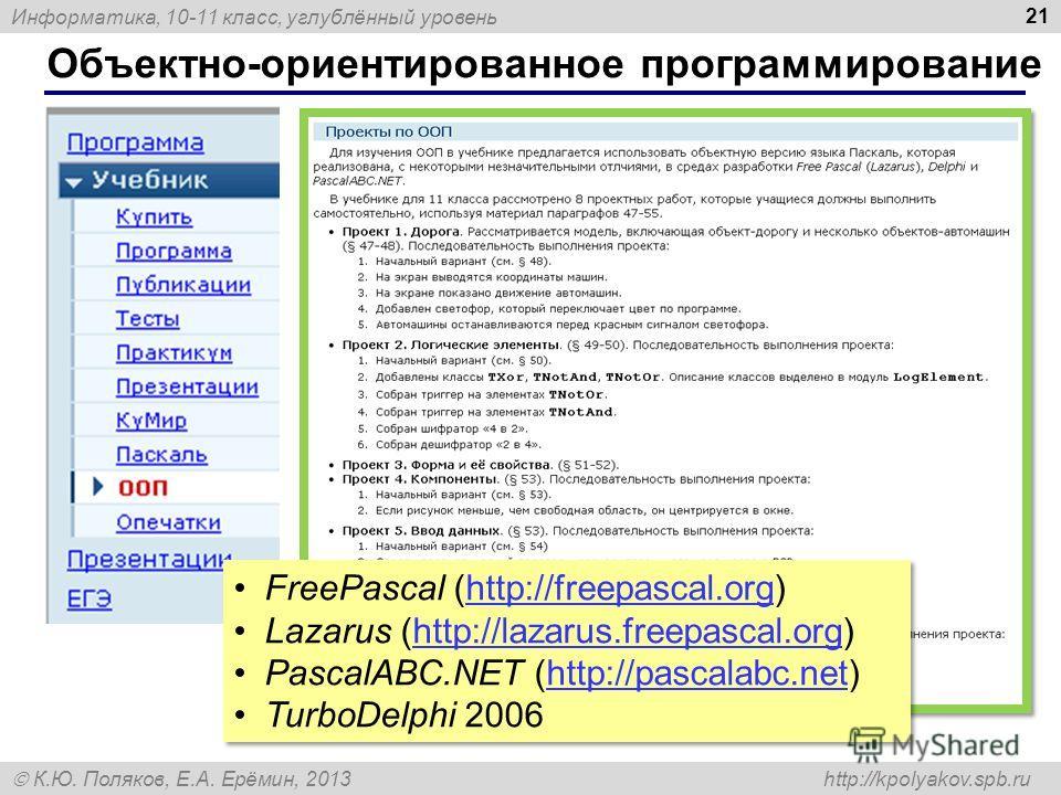 Информатика, 10-11 класс, углублённый уровень К.Ю. Поляков, Е.А. Ерёмин, 2013 http://kpolyakov.spb.ru Объектно-ориентированное программирование 21 FreePascal (http://freepascal.org)http://freepascal.org Lazarus (http://lazarus.freepascal.org)http://l
