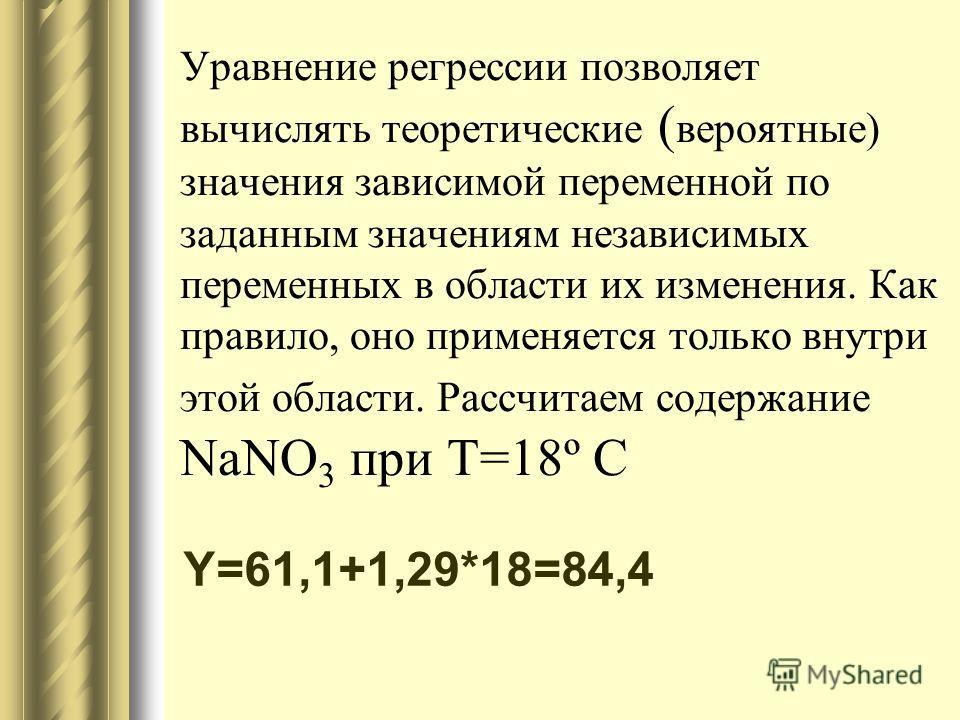 Уравнение регрессии позволяет вычислять теоретические ( вероятные) значения зависимой переменной по заданным значениям независимых переменных в области их изменения. Как правило, оно применяется только внутри этой области. Рассчитаем содержание NaNO