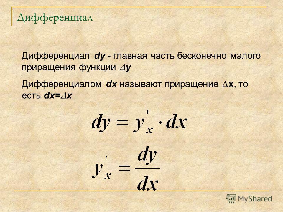 Дифференциал Дифференциал dy - главная часть бесконечно малого приращения функции y Дифференциалом dx называют приращение x, то есть dx= x