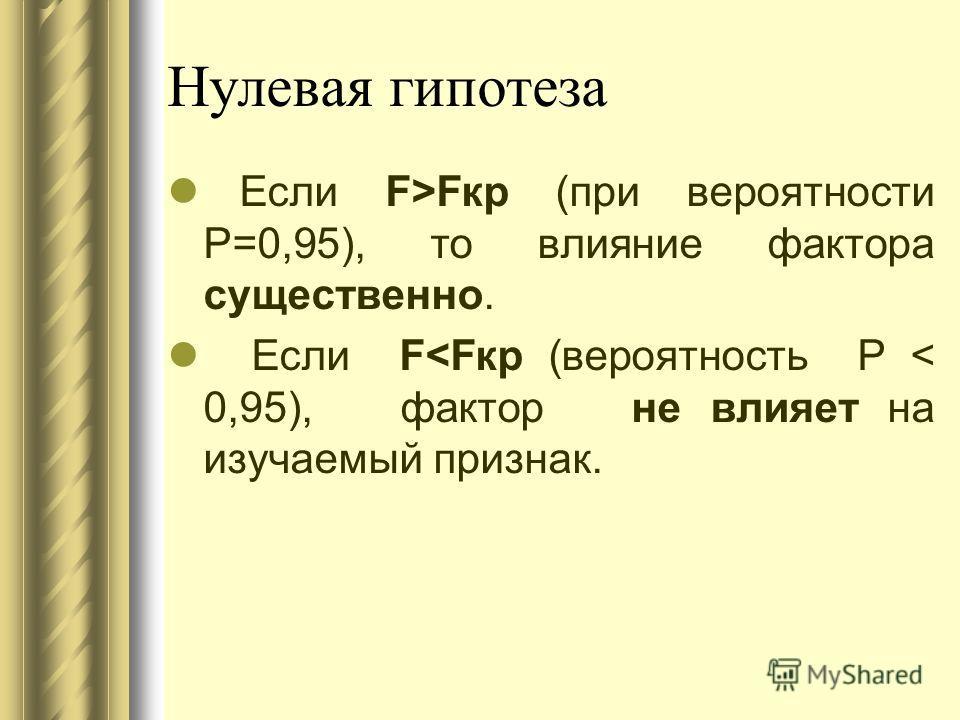 Нулевая гипотеза Если F>Fкр (при вероятности Р=0,95), то влияние фактора существенно. Если F