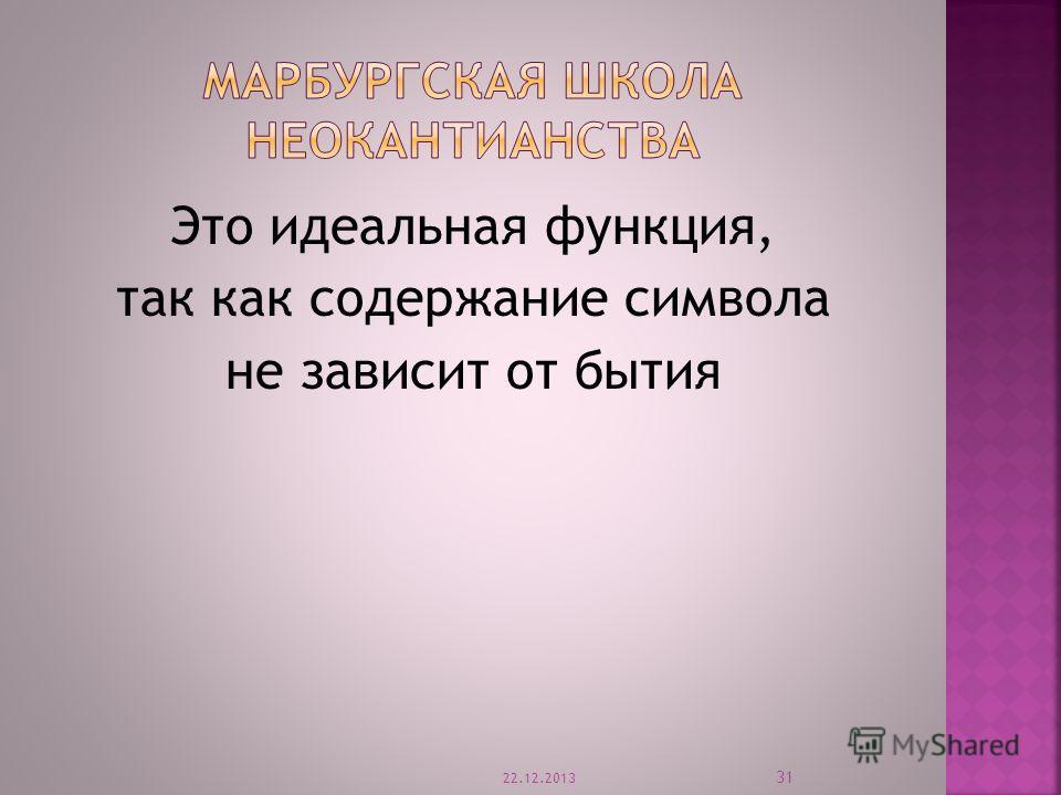 Это идеальная функция, так как содержание символа не зависит от бытия 22.12.2013 31