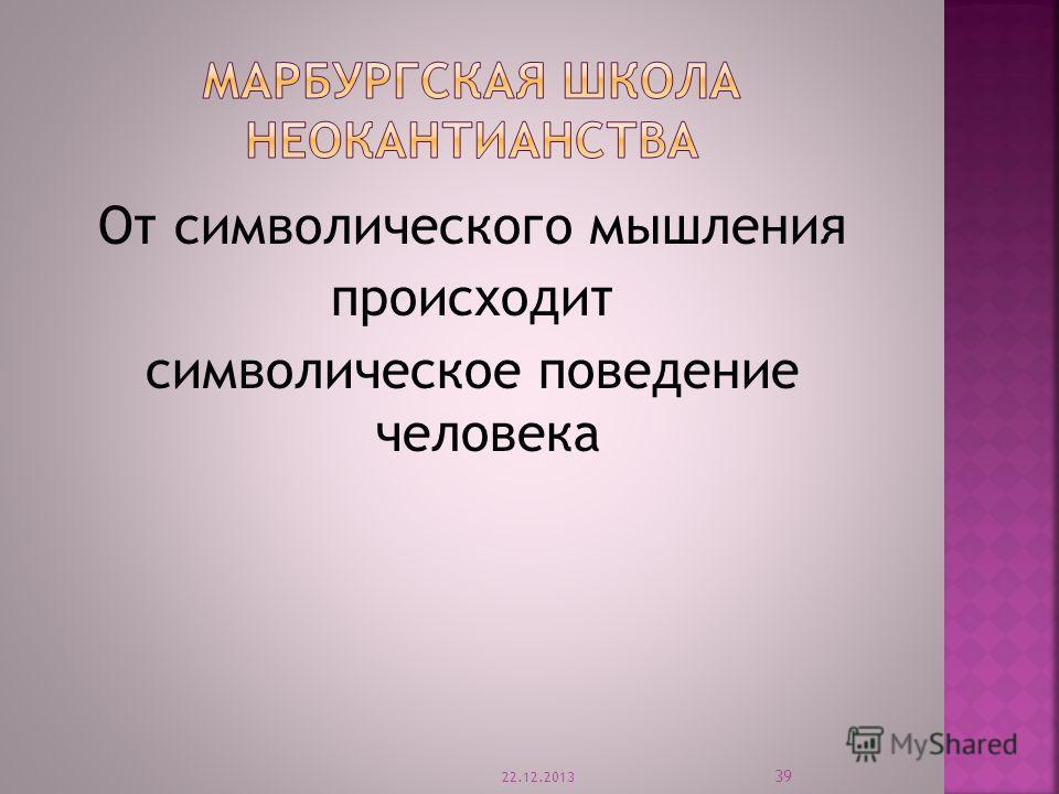 От символического мышления происходит символическое поведение человека 22.12.2013 39