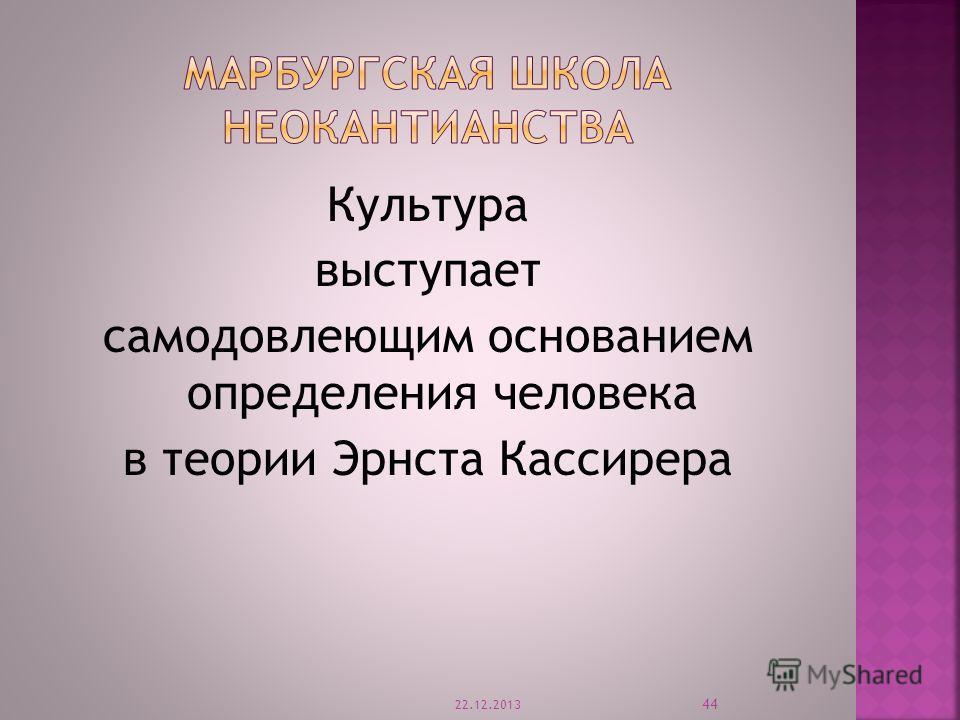 Культура выступает самодовлеющим основанием определения человека в теории Эрнста Кассирера 22.12.2013 44