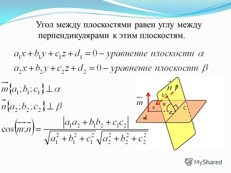 Угол между плоскостями равен углу между перпендикулярами к этим плоскостям.