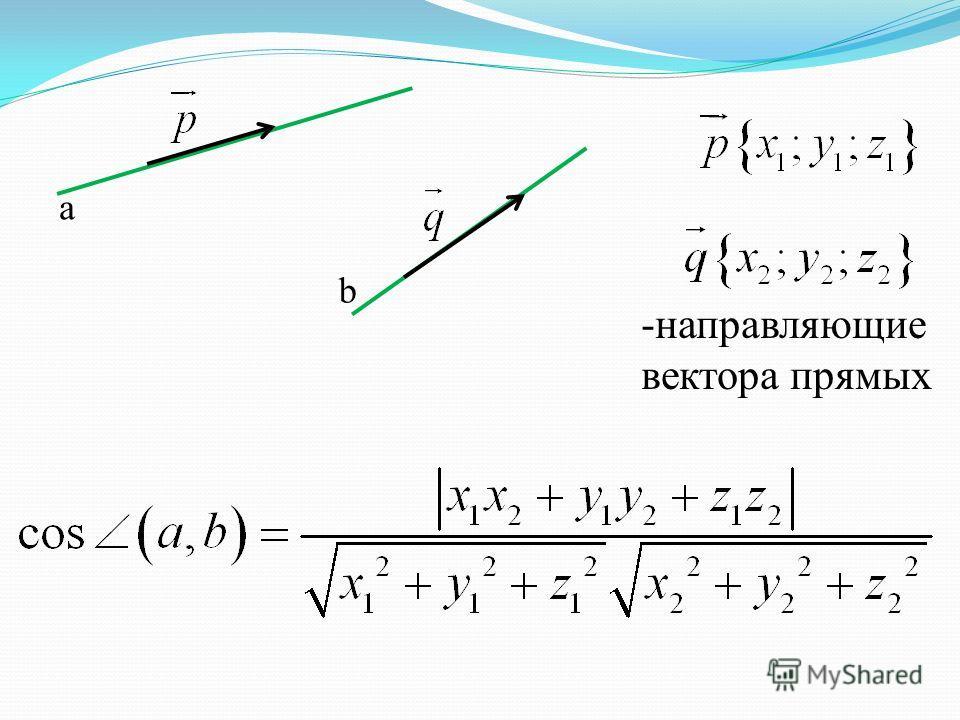 -направляющие вектора прямых а b