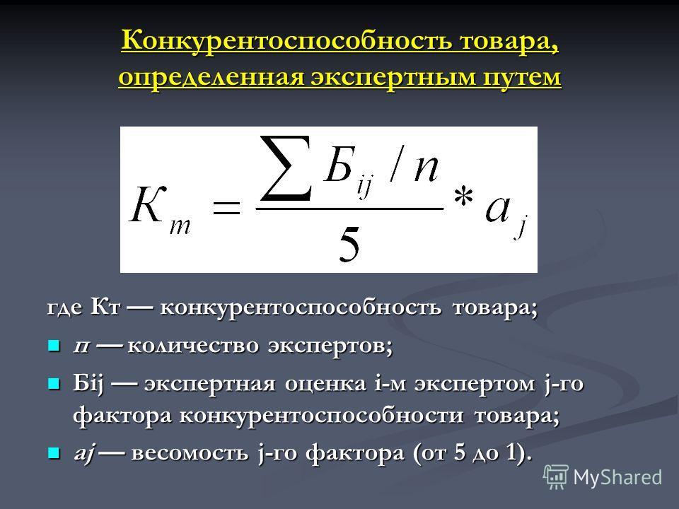 Конкурентоспособность товара, определенная экспертным путем где Кт конкурентоспособность товара; п количество экспертов; п количество экспертов; Бij экспертная оценка i-м экспертом j-го фактора конкурентоспособности товара; Бij экспертная оценка i-м