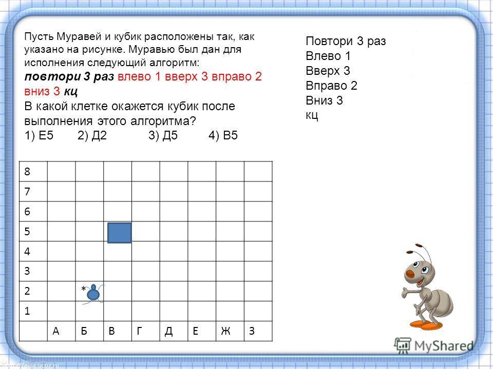 8 7 6 5+ 4 3 2* 1 АБВГДЕЖЗ Повтори 3 раз Влево 1 Вверх 3 Вправо 2 Вниз 3 кц Пусть Муравей и кубик расположены так, как указано на рисунке. Муравью был дан для исполнения следующий алгоритм: повтори 3 раз влево 1 вверх 3 вправо 2 вниз 3 кц В какой кле