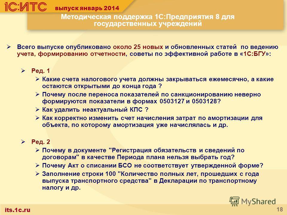 its.1c.ru 18 Методическая поддержка 1С:Предприятия 8 для государственных учреждений Всего выпуске опубликовано около 25 новых и обновленных статей по ведению учета, формированию отчетности, советы по эффективной работе в «1С:БГУ»: Ред. 1 Какие счета