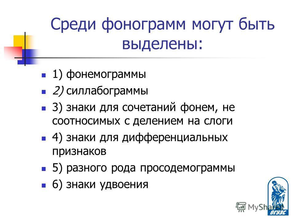 Среди фонограмм могут быть выделены: 1) фонемограммы 2) силлабограммы 3) знаки для сочетаний фонем, не соотносимых с делением на слоги 4) знаки для дифференциальных признаков 5) разного рода просодемограммы 6) знаки удвоения