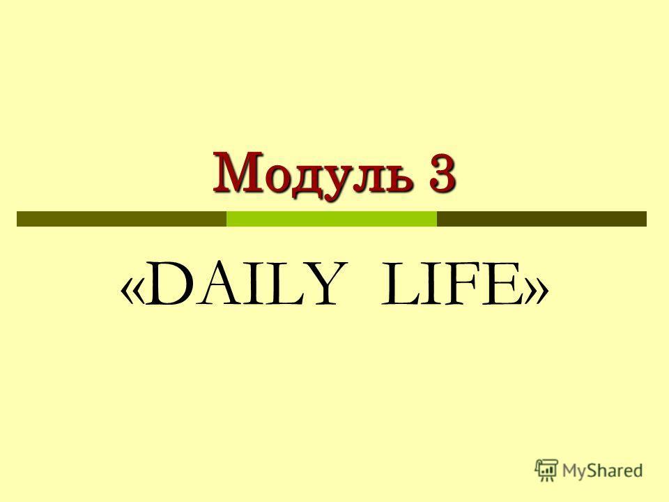Модуль 3 «DAILY LIFE»