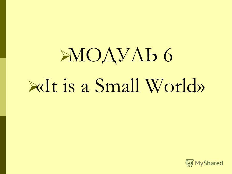 МОДУЛЬ 6 «It is a Small World»