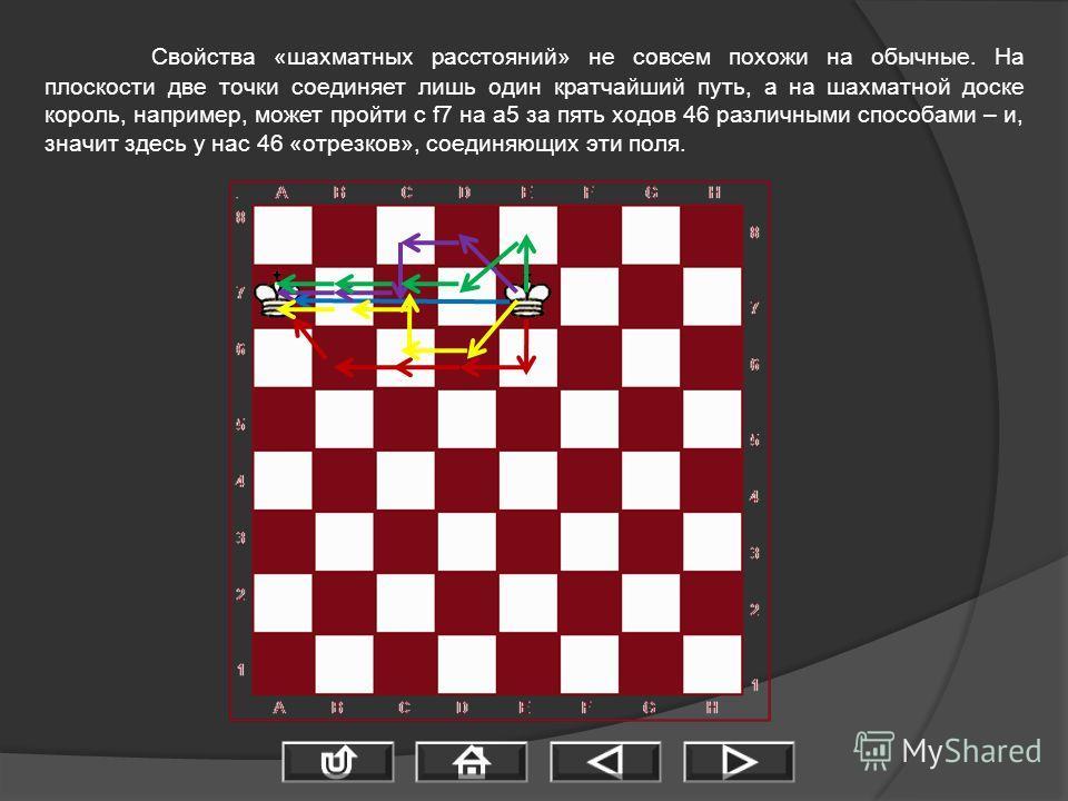 Свойства «шахматных расстояний» не совсем похожи на обычные. На плоскости две точки соединяет лишь один кратчайший путь, а на шахматной доске король, например, может пройти с f7 на a5 за пять ходов 46 различными способами – и, значит здесь у нас 46 «