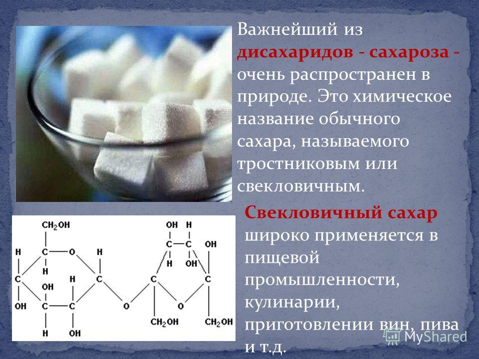 Важнейший из дисахаридов - сахароза - очень распространен в природе. Это химическое название обычного сахара, называемого тростниковым или свекловичным. Свекловичный сахар широко применяется в пищевой промышленности, кулинарии, приготовлении вин, пив