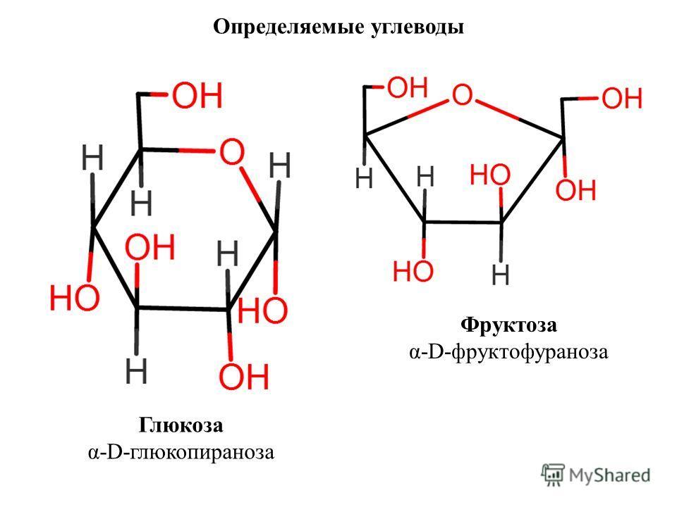Определяемые углеводы Глюкоза α-D-глюкопираноза Фруктоза α-D-фруктофураноза