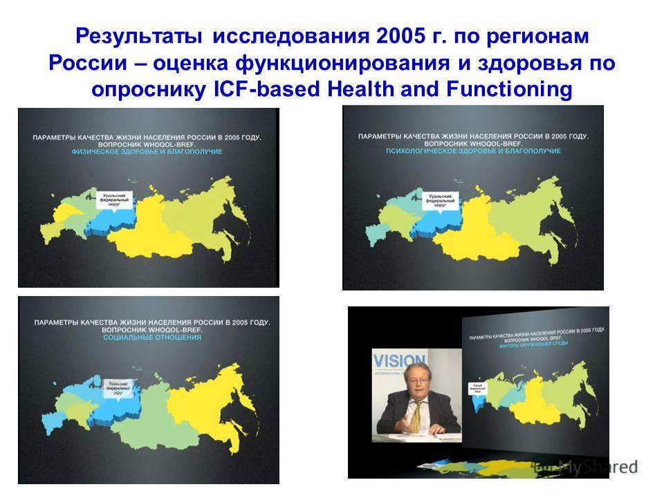 Результаты исследования 2005 г. по регионам России – оценка функционирования и здоровья по опроснику ICF-based Health and Functioning