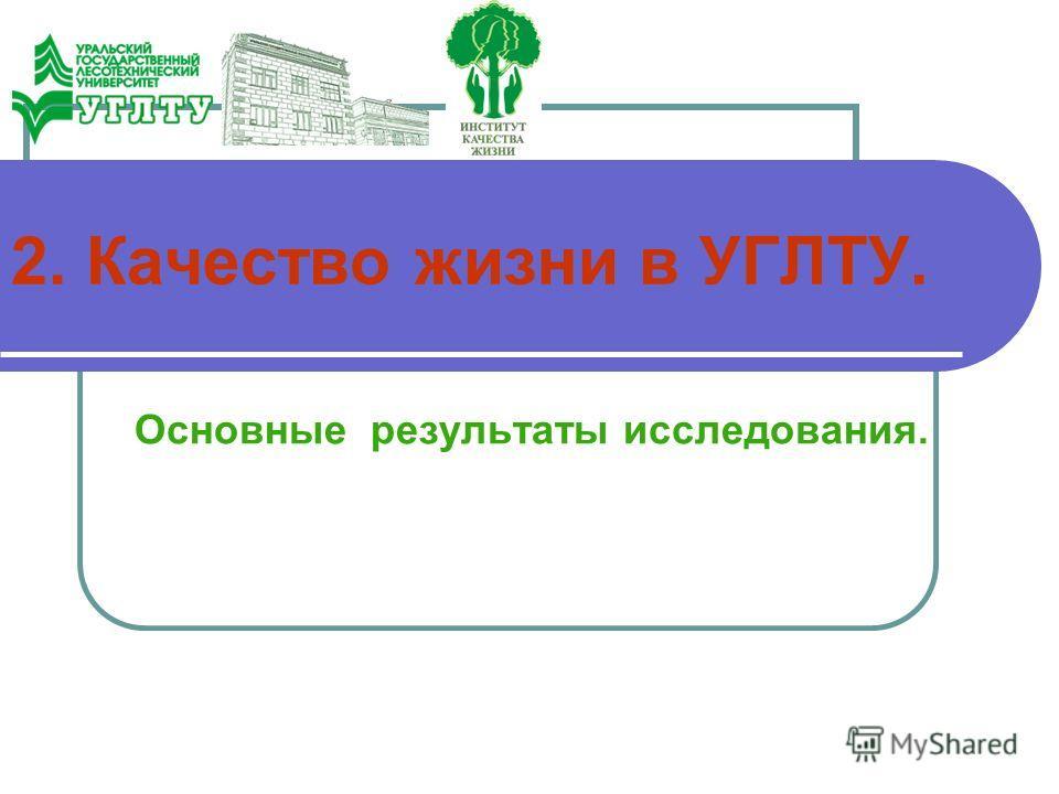 2. Качество жизни в УГЛТУ. Основные результаты исследования.